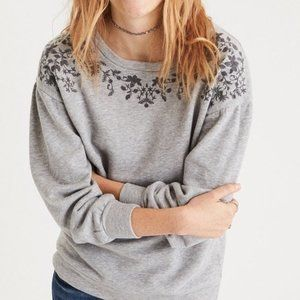 American Eagle Embroidered Sweatshirt Large Gray